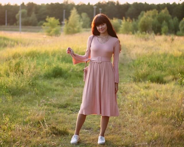 Чудесное трикотажное платье EZSSKJ - style