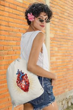 Angemiel Bag Blue Veined Heart Cloth Backpack