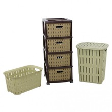 Sturdy Plastic Bamboo Looking Dirty Laundry Basket-Laundry basket-Nightstand 3'lü Set