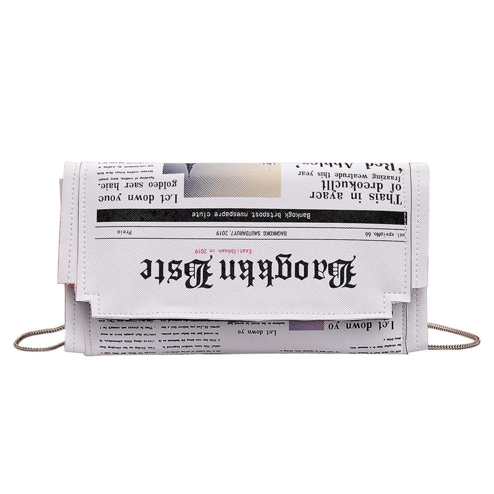 Газетный принт дизайн Crossbody сумка для женщин Повседневное клапаном сумка-конверт ежедневные клатчи кошелек цепи PU сумочка