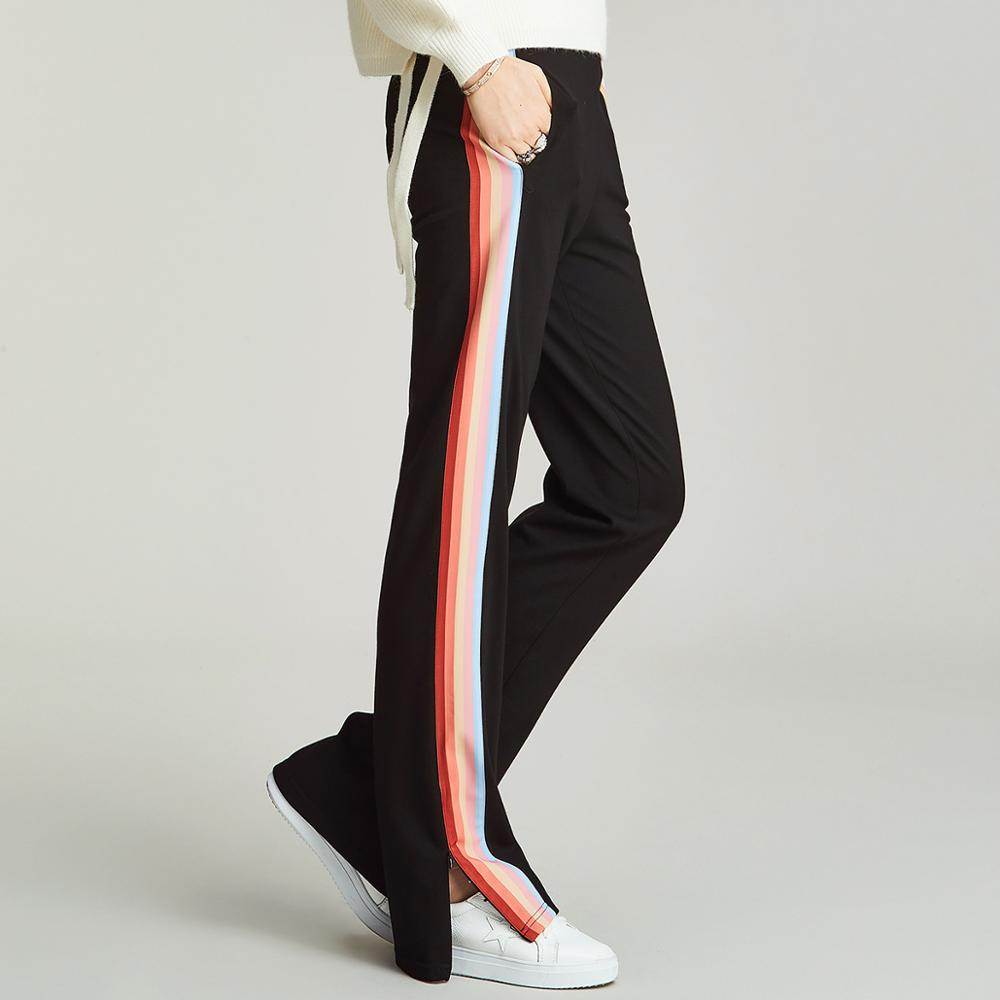 HAVVA 2019 Autumn and Winter Women Rainbow Stripe Sports Pants Split Casual Trousers Female Straight down Pants K35360
