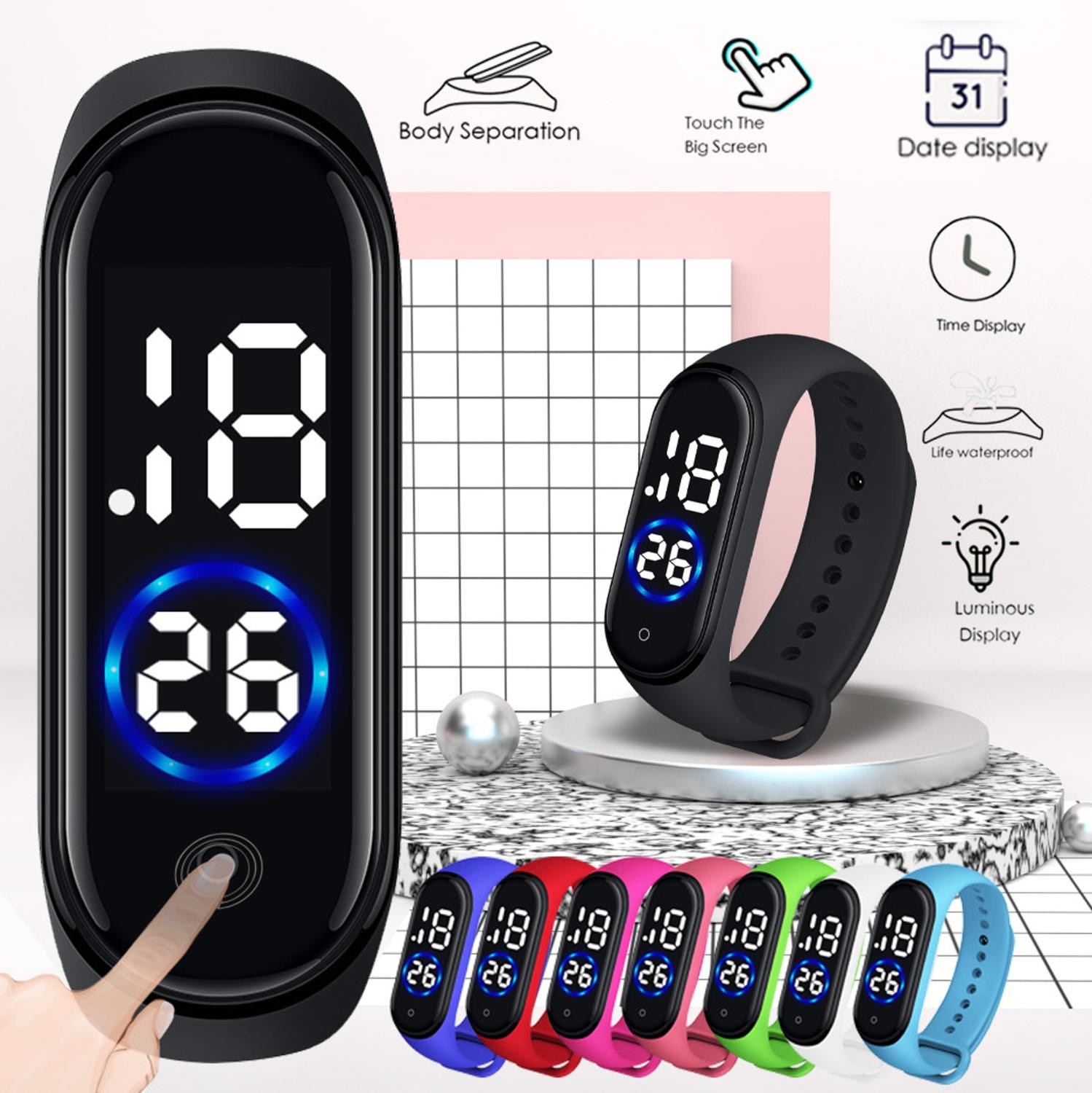 Digital Watch Silicone Band Men Women LED Unisex Sport Hand-Ring Simple title=