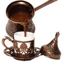 Turkish Pattern Copper Casting Coffee Pot Coffee Maker Handmade 4 Person Capacity Decorative