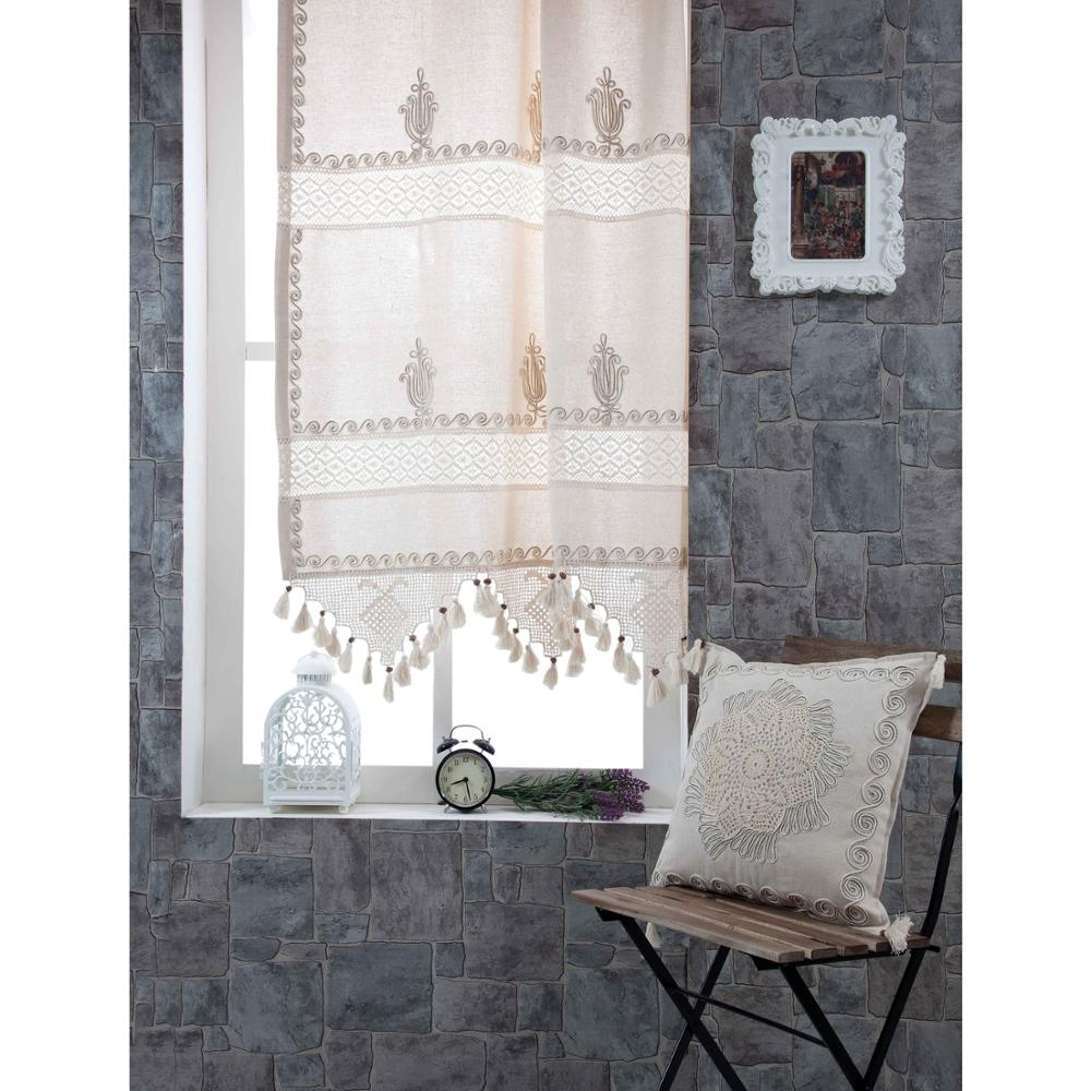 Curtain Embroidery Turkish-Fabric Window Living-Room Office Handcrafted Naturel Home title=
