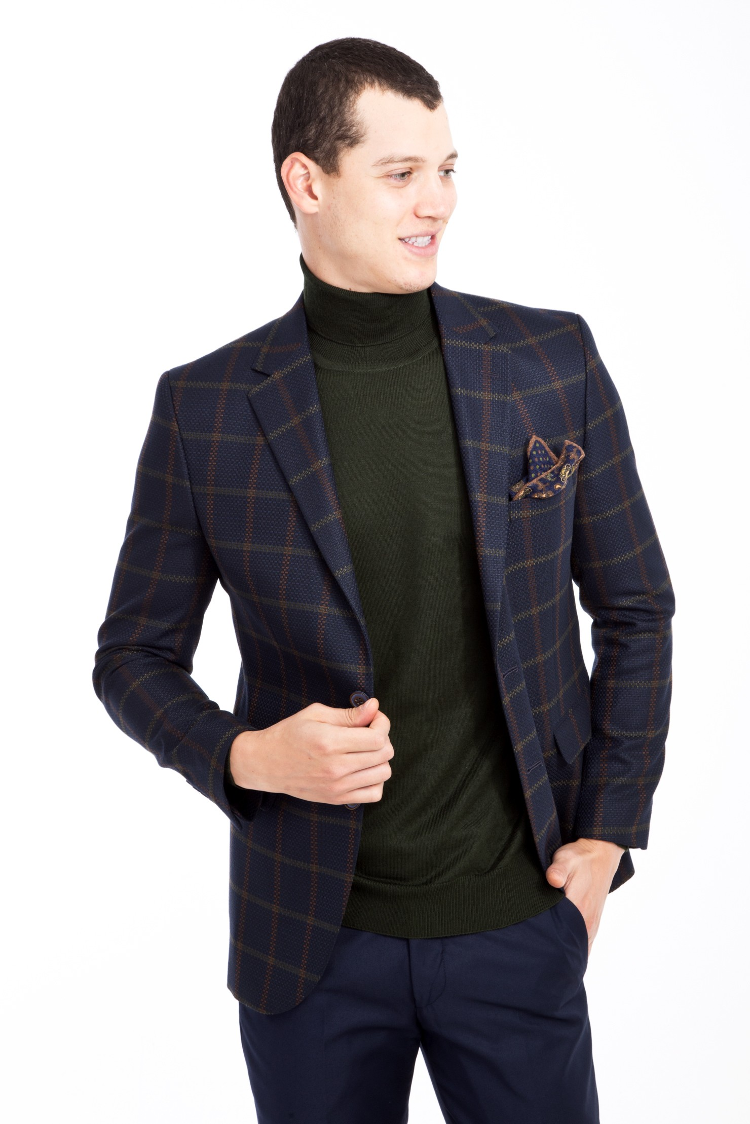 Blazer Arm-Green Made-In-Turkey Check Slim-Fit Plaid 2-Button Single-Breasted Casual title=