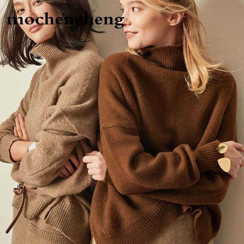 New Double thickening loose turtleneck cashmere sweater female sweater Soft Skin Friendly cashmere pullover Short Knit Shirt