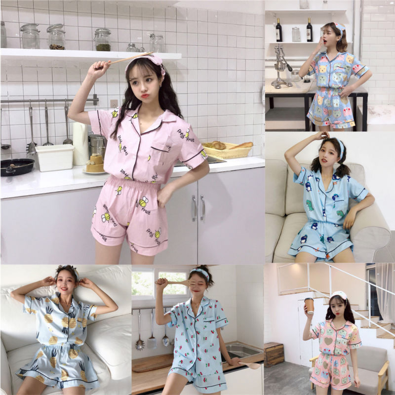 Women's Striped Print Pajamas Suit Short Sleeve Button Summer Home Clothes Female Nightie 2019 Spring Girl Cute Pajama Sets
