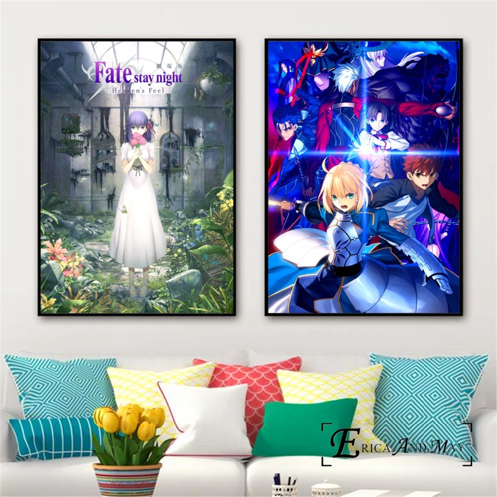 Anime movie Wall Scroll Fate stay night Heaven/'s Feel poster Home Decor Gift