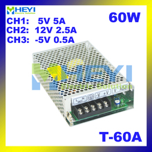60W Power Supply Driver with 3 switching output 5V 5A, 12V 2.5A, -5V 0.5A ac to dc T-60A triple power supply