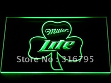 020 Miller Lite Shamrock Beer Bar Pub LED Neon Light Sign Wholesale Dropshipping On/ Off Switch 7 colors DHL