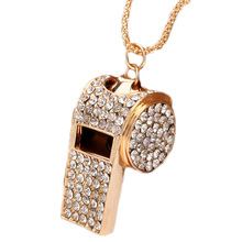 2017 1PIECE crystal Whistle Necklace Supernova sale Full Rhinestone Gold Color Costume Jewelry