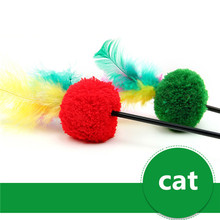 3PCS/Set Red green color Feather Wand Stick with Bell For Cat Toys Catcher Teaser Toy For Pet Kitten Jumping Train Add Fun PE35