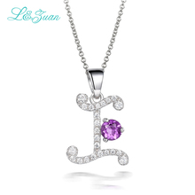 l&zuan 925 silver Zircon Woman Pendants Necklaces 0.87ct natural Gemstones Charm Letter I Fine Jewelry Link chain Christmas gift(China)