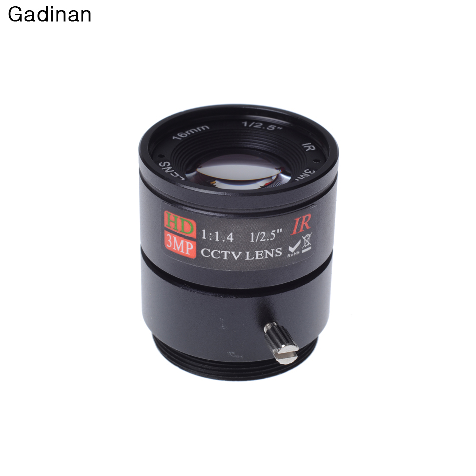 Gadinan 16MM 3MP CCTV Lens 1/2.5'' F1.4 CS Fixed IR 3.0 Megapixel CCTV Lens IR 720P/1080P Security Camera
