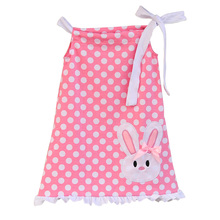 Lovely Baby Girls Pink Dress Polka Dots Cute Embroidery Rabbit Clothing Cheap Price Children White Ruffle Cotton Dress E007(China)