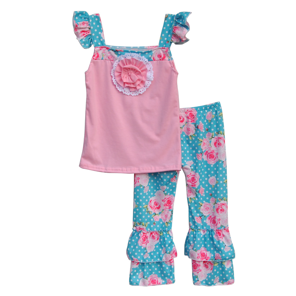 Floral Girls Lovely Summer Clothing Sets Pink Top With Flower Floral Polka Dots Pants Ruffle Kids Matching 2 Pcs Outfits S087<br><br>Aliexpress
