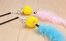 2PCS/Set Pink Blue color Feather Wand Stick with Bell For Cat Toys Catcher Teaser Toy For Pet Kitten Jumping Train Add Fun PE28(China)