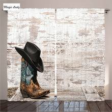 Hooks Hanging Curtains Living Room Bedroom Decor Western Rodeo Cowboy Hat Cowgirl Boot Brown Beige (B) Curtains Hooks Hanging L