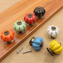 Retro Ceramic Pumpkin Cupboard Cabinet Door Drawer Dresser Pull Knob Handle