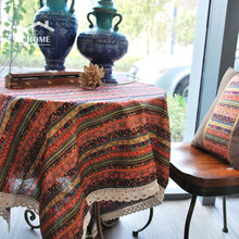 be Home High quality Bohemia style Cotton and  Linen Lace tablecloth table cover table cloth for home and coffee shop