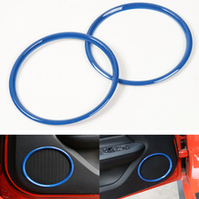 YAQUICKA 2Pc Car Door Bigger Stereo Sound Speaker Ring Circle Trim Styling Fit For Ford Mustang 2015 2016 ABS Chrome Blue or Red