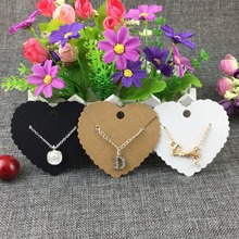 New Style 200pcs/lot Heart Shape Retangle Scalloped Necklace&Earring Cards Kraft Blank Display Accept Custom Logoing CardsJewelr(China)