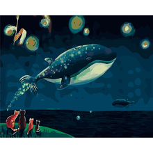 FUNIQUE Canvas Whale Swimming Oil Painting By Numbers DIY Modular Paintings On The Wall Pictures For Living Room 40x50cm