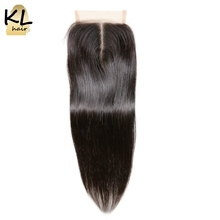 KL Hair 4x4 Straight Lace Closure Human Hair Natural Color Brazilian Remy Hair Bleached Knots With Baby Hair(China)