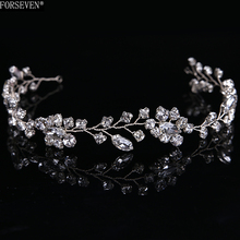 Gorgeous Handmade crystal headbands for women hair jewelry forehead hair ornaments silk band bridal hairwear wedding accessories