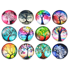 MJARTORIA 12PCs Fixed Mixed Printing Tree Pattern Glass 18mm Snap Buttons DIY Findings Fit Handmade Bracelet Making Fit Gifts