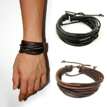 Hot hand-woven Fashion Jewelry Leather Braided Rope Wristband Wrap multilayer men bracelets & bangles for women(China)