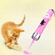 2016 Funny Pet Cat Toys LED Laser Pointer light Pen With Bright Animation Mouse Random Color