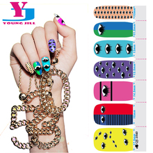 2016 New Colorful Nails Sticker Art Eye Design Nail Gel Polish Spray Patch Nail Accessories Full Cover Stickers Tools Wholesale(China)