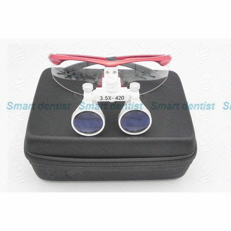 2016 3.5X magnifiying surgical loupe adjustable size red color good quality Galileo optical glasses dental dentist magnifier<br><br>Aliexpress