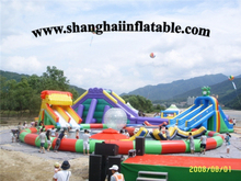 good quality giant inflatable pool with large inflatable slide  Inflatable water park water slide splash pool water slide