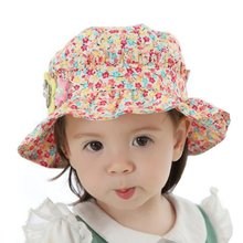 Summer Baby Girl Sun Hat Cotton Floral Outdoor Cap Kid Beach Ruffle Hat 1-2Y Kid For Newborn Baby
