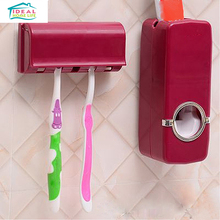 Creative Wall Mount 5 Brush Holder Automatic Auto Toothpaste Dispenser Holder Set New
