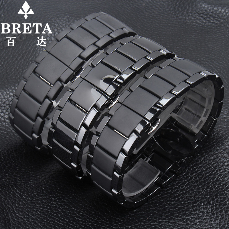 watchbands FOR AR1451 | AR1452 strap 22MM 24MM black arc ceramic strap with butterfly buckle strap accessories for mens strap<br>