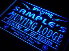 QL-tm Name Personalized Custom Hunting Lodge Firearms Man Cave Bar Neon Sign with On/Off Switch 7 colors