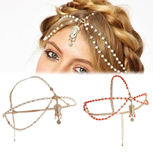 Hair Accessories Metal Head Waves Chain Jewelry Shiny Boho Women Pearl Gold Wedding Headdress Headband Crown Headpiece