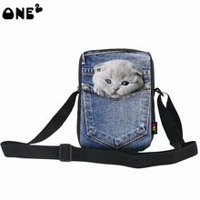 ONE2 design cute cat pattern wholesale fashionable school eminent single shoulder messenger nylon bag(China)