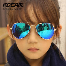 KDEAM Brand Pilot Sunglasses Kids UV400 Coating Sun Glasses Camouflage Frame Goggle Baby Boys Girls Sunglass oculos With Box(China)
