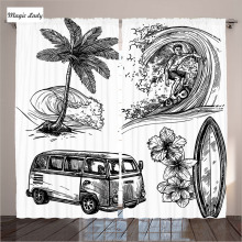 Printed Curtains Living Room Bedroom Surfing Sport Surfboard Beach Sketches Illustration Black White 2 Panels Set 145*265 sm