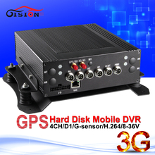 free shipping 3g gps full d1car dvr can remote access 4ch h.264 black box dvr automobile dvr with realtime monitor loop recorder(China)