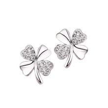 Love of Silver plated Lucky Clover frosted crystal earrings lovely ladies fashion jewelry vintage jewelry EAR-0601