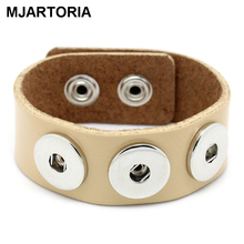 MJARTORIA NEW 1Pc Real Leather Bracelet Base Band Fits Metal Snap Buttons Khaki HOT sale New Arrival