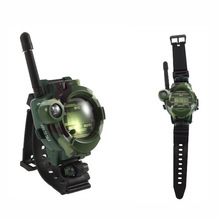 2PCS Walkie Talkie Toys Children Military Style Wrist Watch Multi-functional Two Way Radio Toy with Compass Magnifier Reflector(China)
