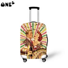 2016 ONE2 Design vintage man and woman pattern printing cover apply to 22,24,26 inch protective polyester kids luggage cover