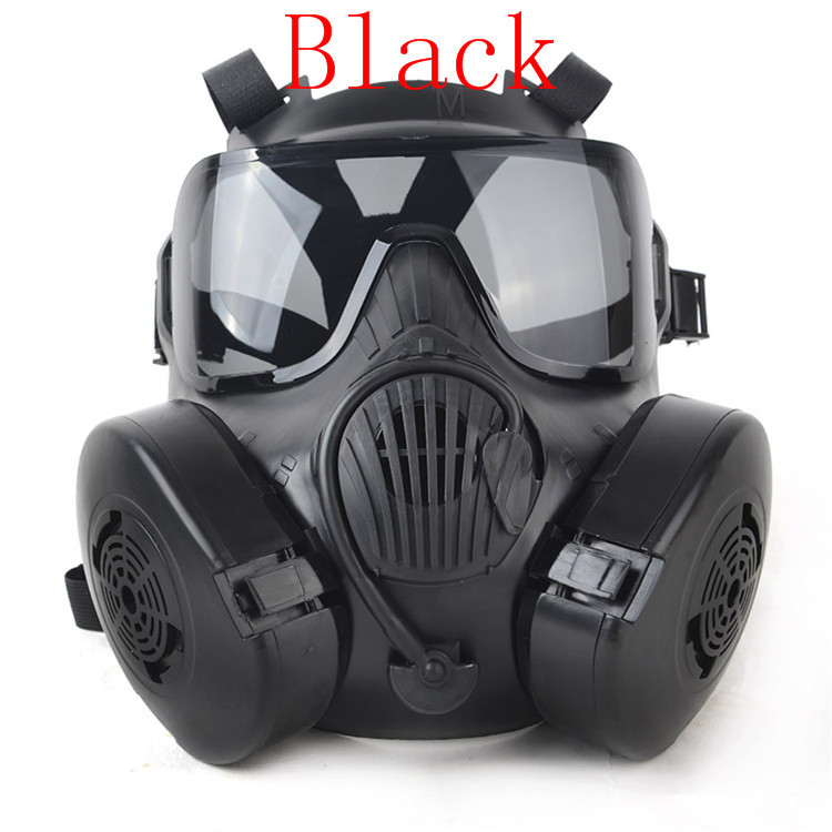 1pc Wide Vision Protective Tactial M50 Airsoft Mask Adults Paintball Full Face Skull Gas CS Mask With Fan 22.5*17.5cm<br><br>Aliexpress