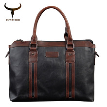 COWATHER top quality 2017 fashion men messenger vintage bags Packet PU bag men coffee black handbags for men free shipping(China)